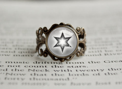 Normal Type Pokemon Symbol antique bronze ring