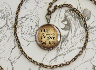 "Tolkien LOTR necklace ""Not all who wander are lost"" quotation bronze"