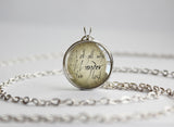 "Tolkien LOTR pendant ""Not all who wander are lost"" hand script quotation Silver"