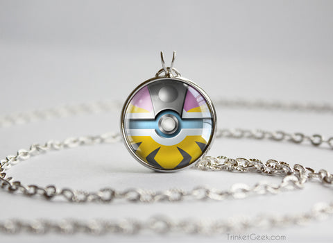 Pokemon Gold and Silver Raikou Pokeball Necklace