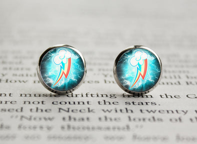 Pony MLP cutiemark Rainbowdash Lightningbolt earrings