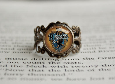 House Emblem Blue antique style Harry ring Raven Potter