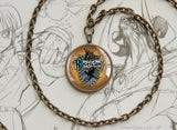 Potter necklace house blue ravenclaw emblem sigil bronze