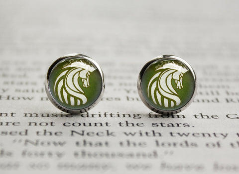 LOTR earrings rohan crest emblem flag sigil
