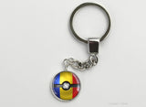 Romanian Flag themed Pokeball Key Chains