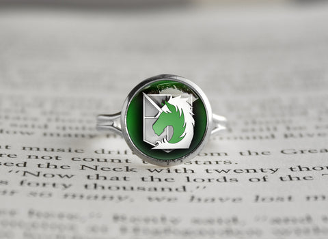 Attack on Titan Shingeki no Kyojin silver ring SNK Millitary police