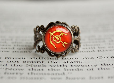 Sailor Moon Sailor Mars Arrow and Bow Symbol antique style ring