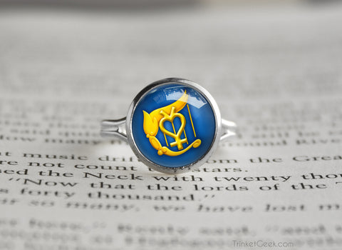 Sailor Moon Sailor Mercury Harp symbol silver ring