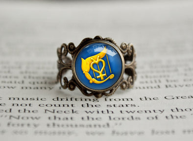 Sailor Moon Sailor Mercury Harp symbol antique style ring