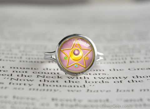 Sailor Moon Crystal Star Compact Symbol silver ring