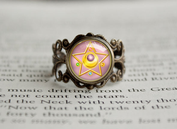 Sailor Moon Crystal Star Compact Symbol antique style ring