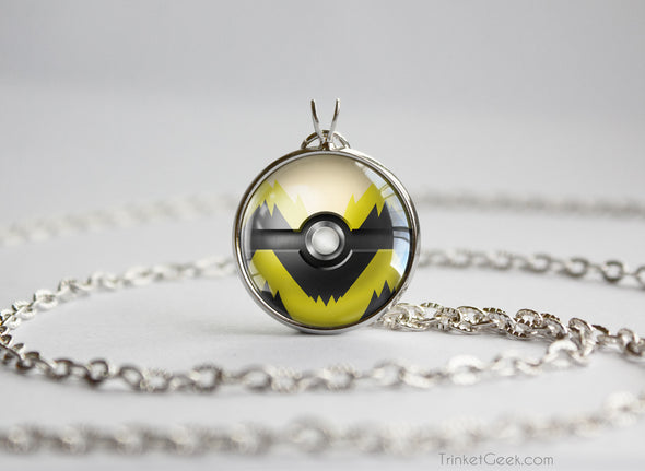 Pokemon Shiny Arcanine Themed Pokeball necklace pendant