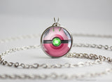 Pokemon Shiny Celebi Themed Pokeball necklace pendant
