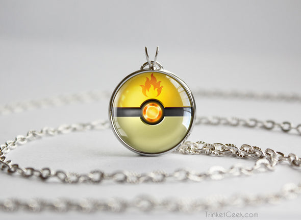 Shiny Pokemon Charmander Themed Pokeball Pendant Necklace