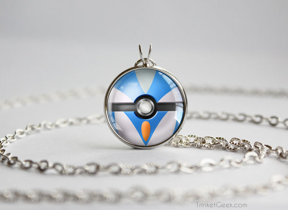 Pokemon Shiny Gallade Themed Pokeball necklace pendant