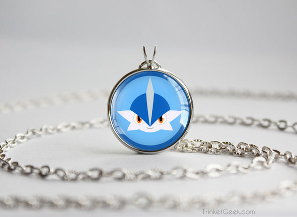 Gallade Shiny Pokemon Chibi Portrait necklace
