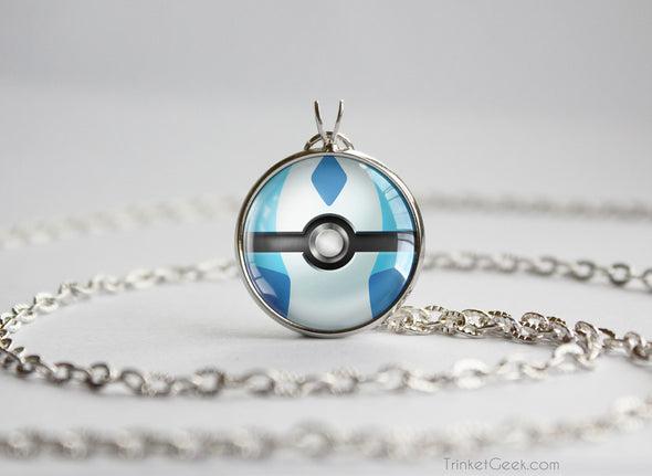 Pokemon Shiny Glaceon Eeveelution Pokeball Pendant Necklace