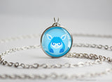 Glaceon Pokemon shiny Eeveelution Chibi Portrait necklace