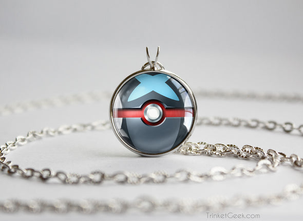 Shiny Greninja Pokemon Kalos Starter Themed Pokeball pendant