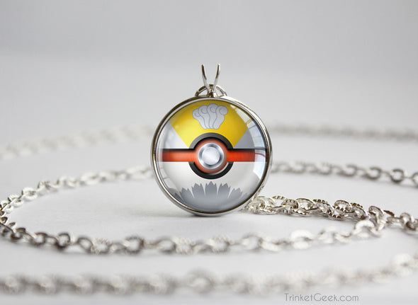Pokemon Gold and Silver Shiny Ho Oh Pokeball Necklace