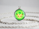 Leafeon Pokemon shiny Eeveelution Chibi Portrait necklace