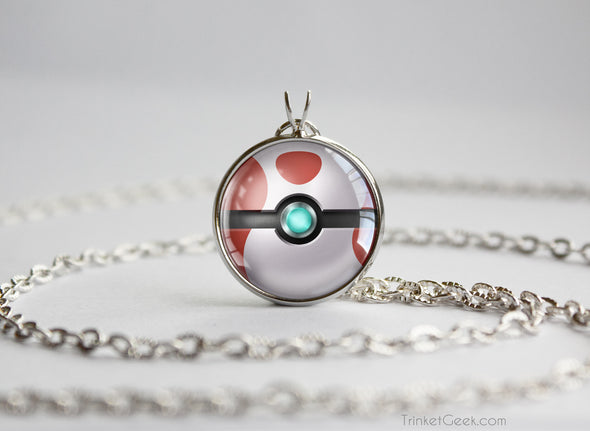Pokemon Shiny Mega Absol Themed Pokeball necklace pendant