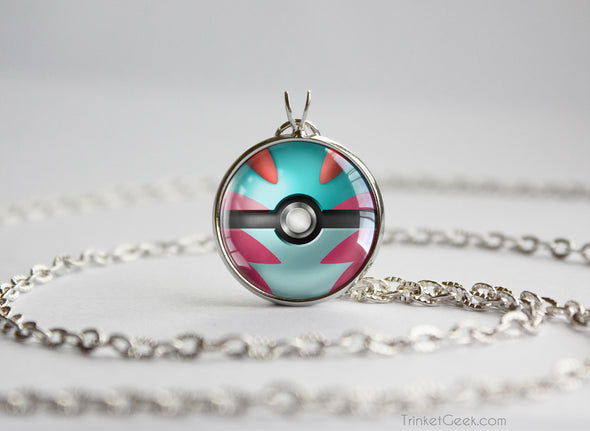 Pokemon Shiny Mega Charizard X Themed Pokeball Pendant Necklace