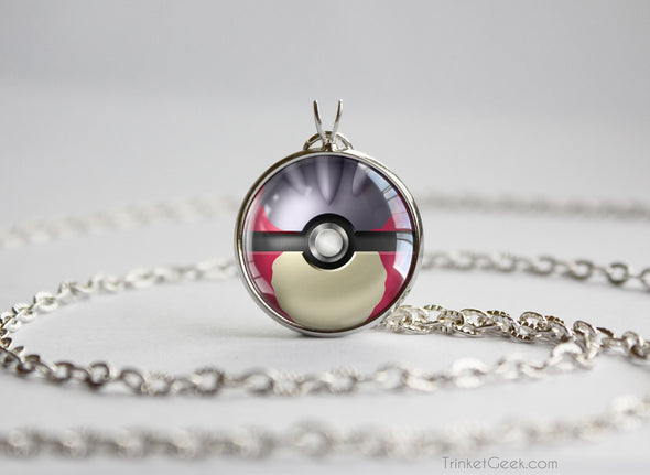 Pokemon Shiny Mega Charizard Y Themed Pokeball Pendant Necklace