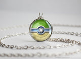 Pokemon Shiny SquirtleThemed Pokeball Pendant Necklace