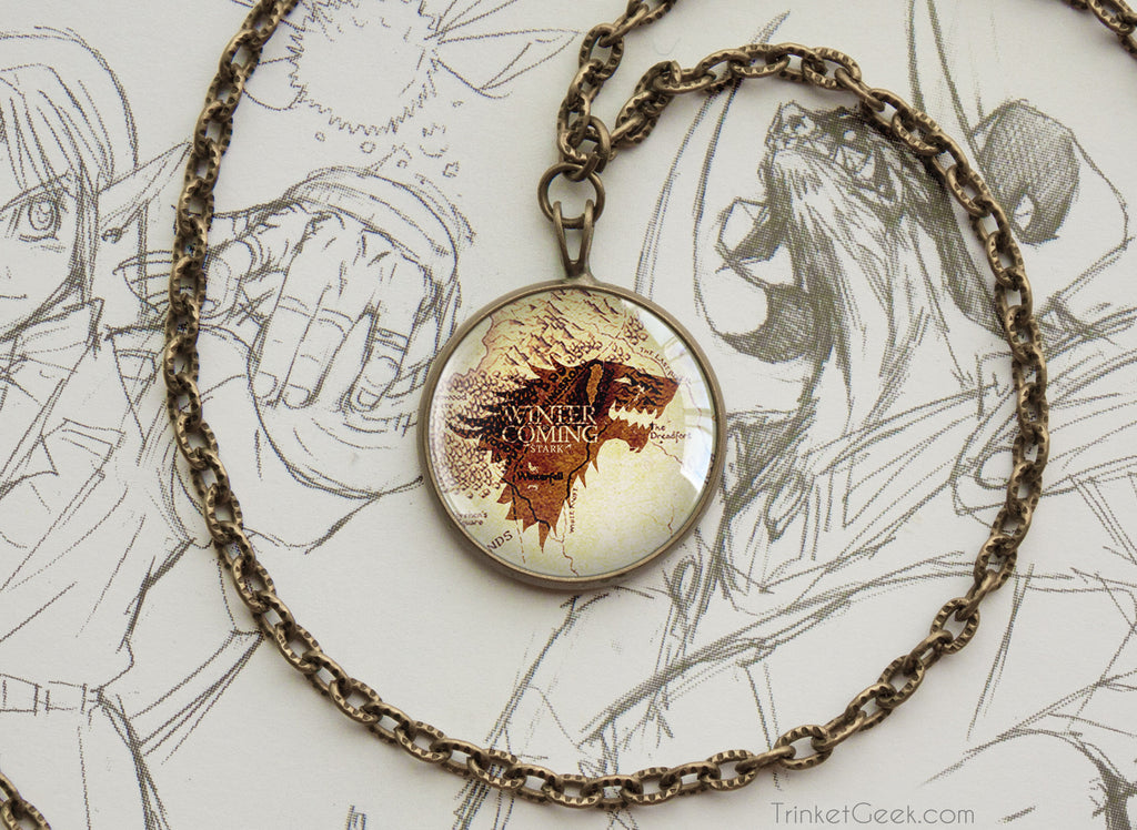 Thrones pendant Stark Winterfell map