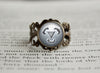 Steel Type Pokemon Symbol antique bronze ring