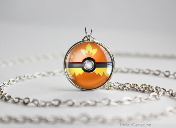 Pokemon Torchick Themed Pokeball Pendant