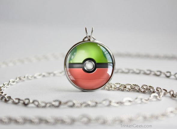 Pokemon Treecko Themed Pokeball Pendant