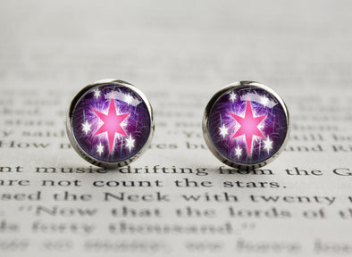 Pony MLP cutiemark Twilight stars earrings