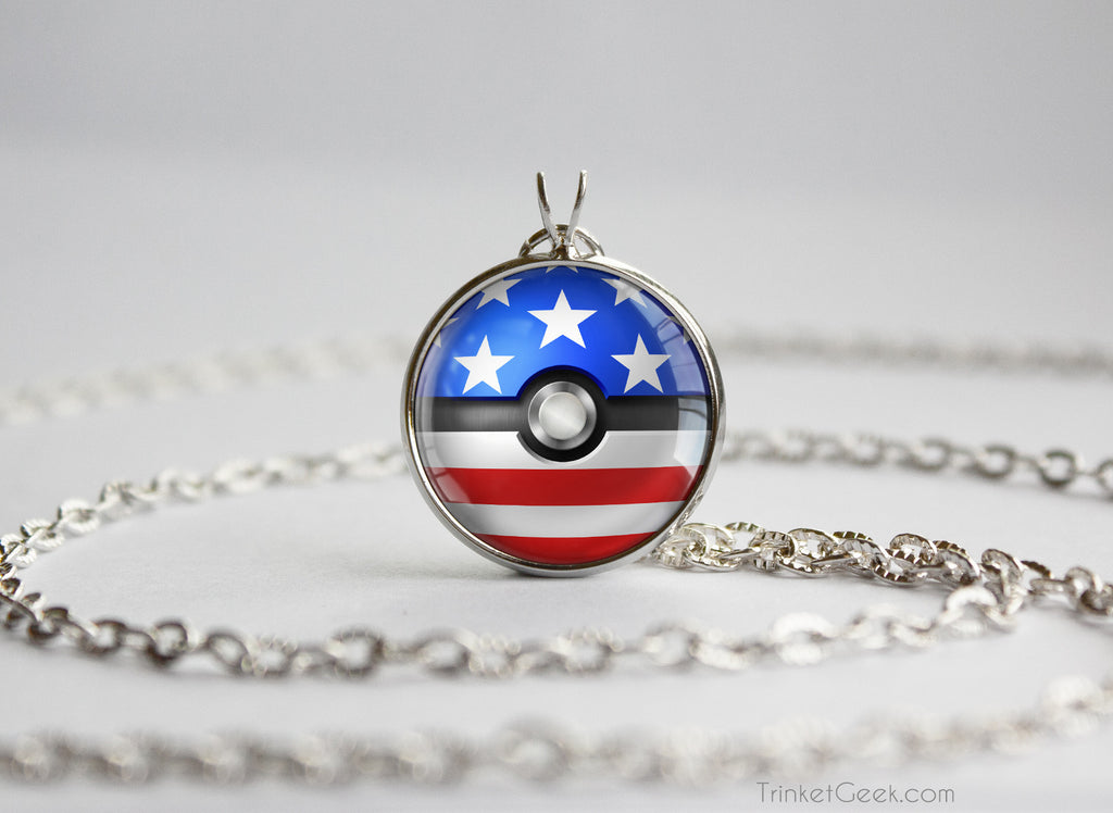United States Pokemon Flag pokeball necklace