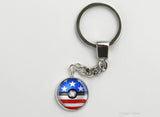American Flag themed Pokeball Key Chains