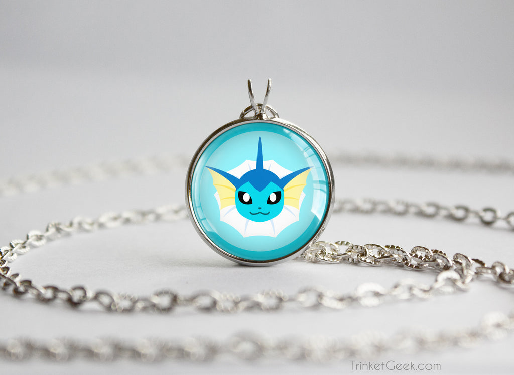 Vaporeon Pokemon Eeveelution Chibi Portrait necklace