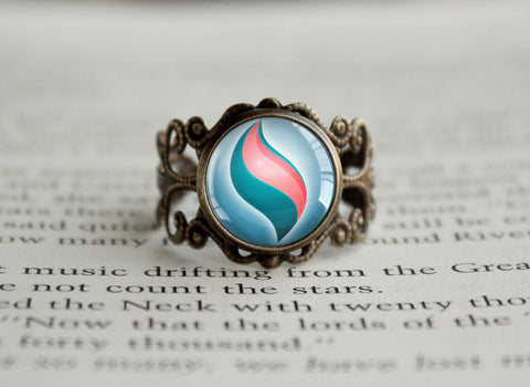 Pkmn Mega Stone antique style BRONZE Ring