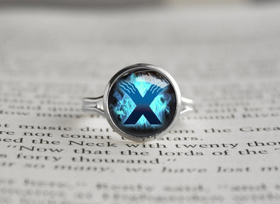 X version silver ring
