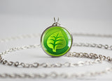Pokemon pendant necklace grass type symbol