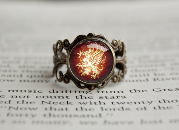 Grey Warden Sigil Griffon Dragon Filigree ring Age Vintage bronze