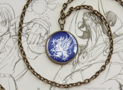 Dragon Age Grey Warden Sigil Griffon Pendant Necklace bronze