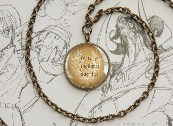 Dragon age Grey Warden Quote motto Pendant Necklace bronze