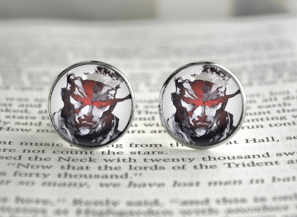 Metal gear cufflinks Solid art Snake