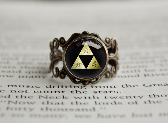 Zelda Antique style filigree ring Kanji Triforce bronze