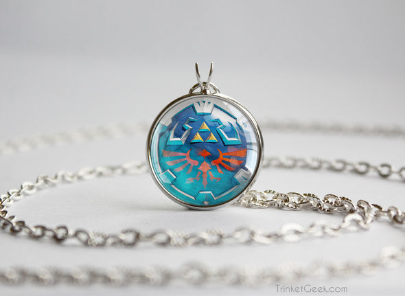 Zelda Hylian Shield Skyward sword Silver Pendant