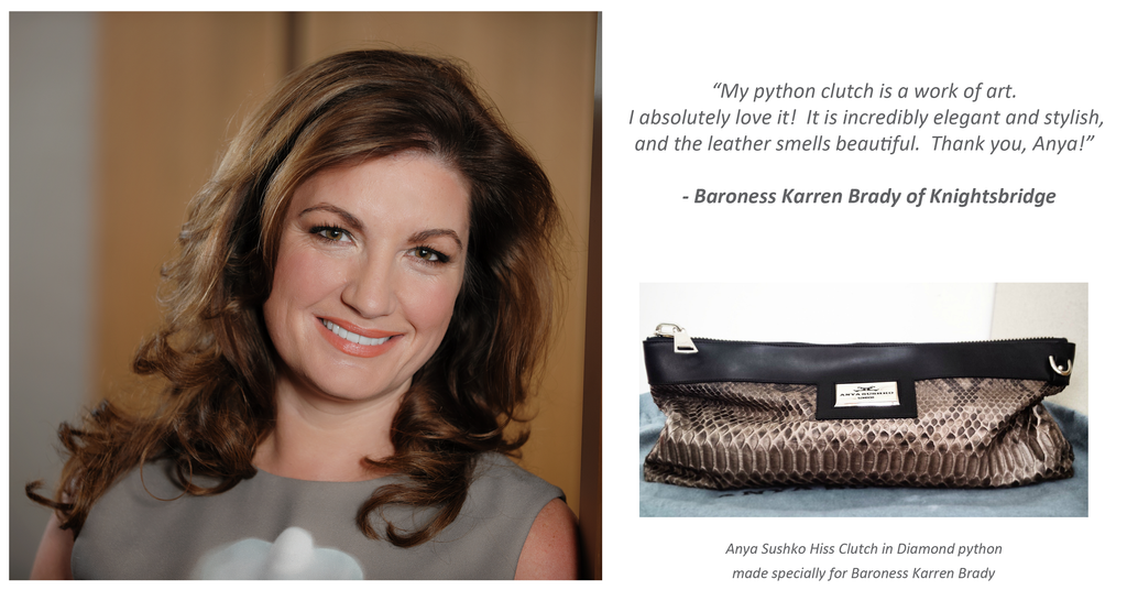 Karren Brady Python clutch bag by Anya Sushko