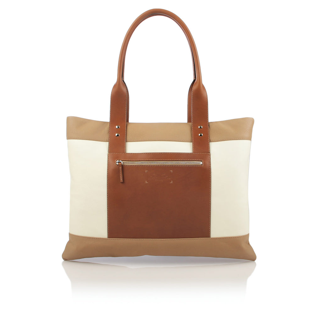 Chic City Tote in Ivory and Tan