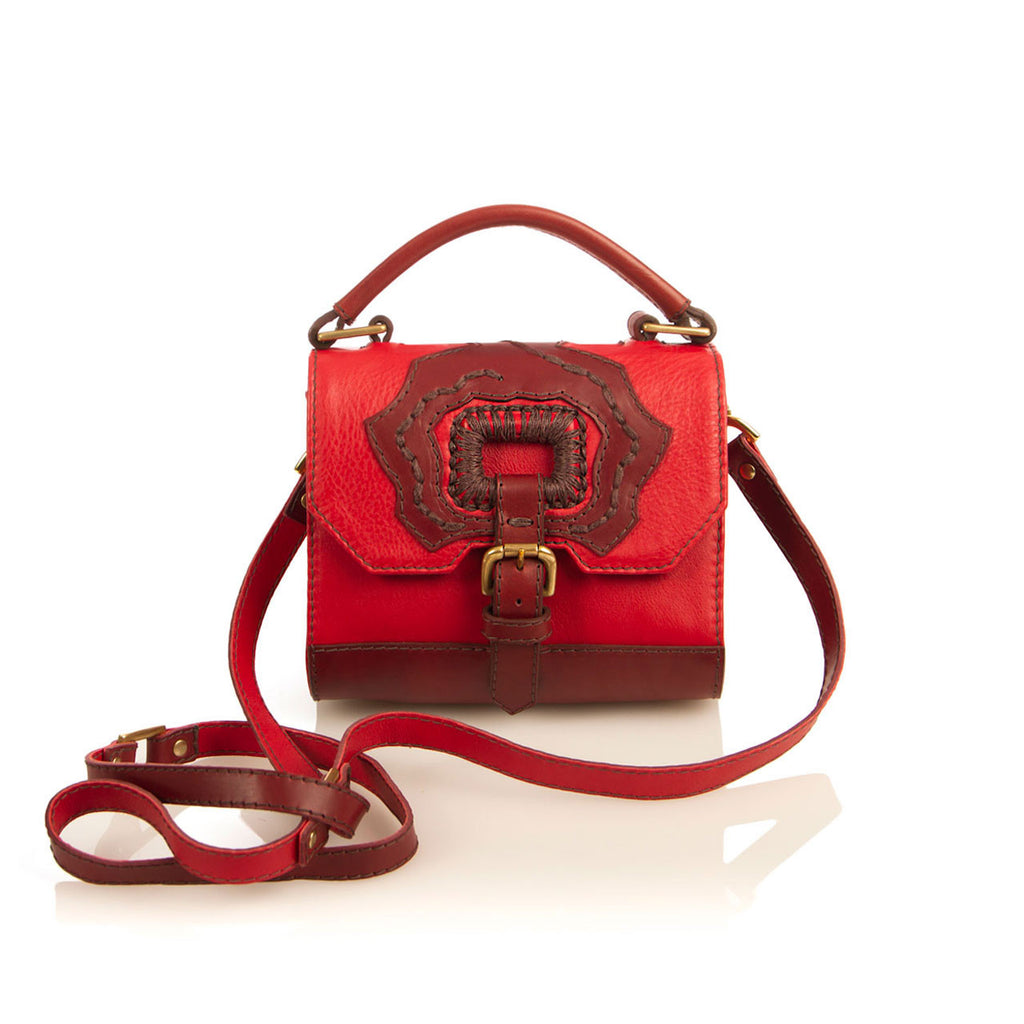 Luxury Gem Rose Red Embroidered Bag