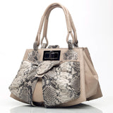 Python Leather Bag Bowgard in cream side view